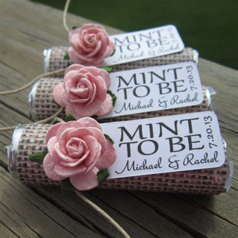 shabby chic wedding favour ideas wedding favors set of 100 mint rolls quot mint to be quot favors with personalized tag burlap