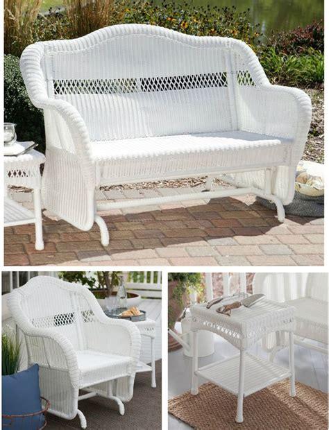white wicker glider loveseat 25 best ideas about wicker patio furniture on