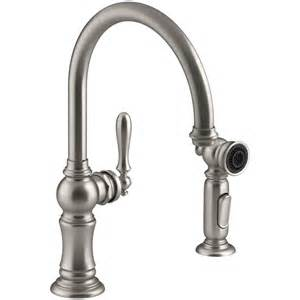 kitchen faucet side spray shop kohler artifacts vibrant stainless 1 handle high arc kitchen faucet with side spray at