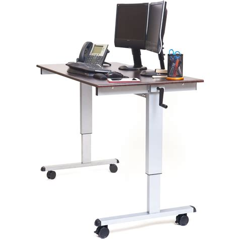 ergonomic stand up desk luxor standup cf60 dw 60 quot crank adjustable stand up desk