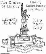 Liberty Statue Coloring Pages Drawing Print Island Line Getdrawings Drawn sketch template