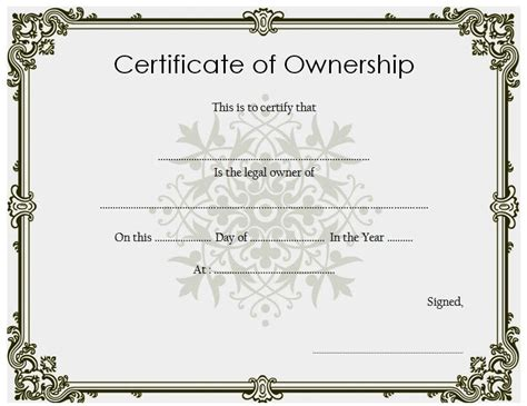 certificate  ownership template   certificate