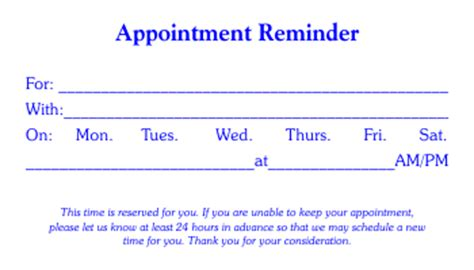 appointment card template microsoft word 4 free appointment card templates word excel pdf formats