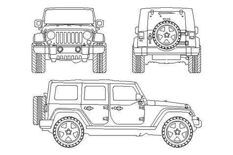 4 door jeep drawing bloques cad autocad arquitectura download 2d 3d dwg