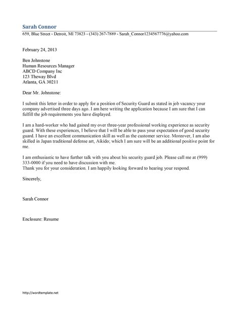 Excellent Cover Letter Exles by Sle Cover Letter For Security Guard With No Experience Guamreview