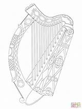 Harp Coloring Pages Irish Drawing Celtic Drawings Printable Paintingvalley Dot sketch template