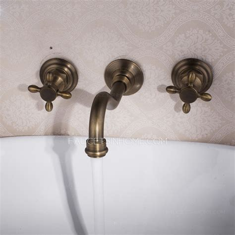 three kitchen faucets vintage wall mount three antique brass bathroom faucets