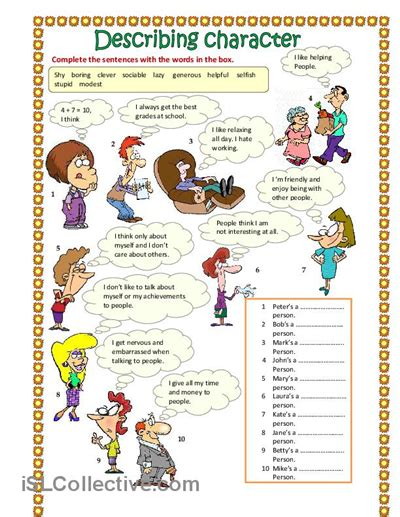 pin by 4 matura on vocabulary describing character part 1 worksheet free esl