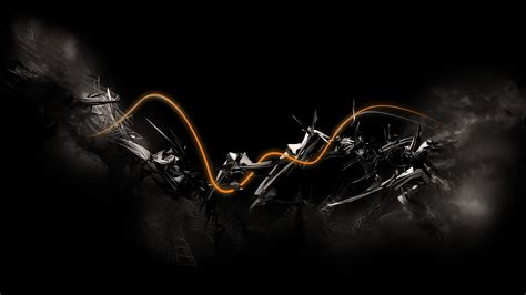 Abstract Painting On Black Background by Abstract Digital Black Background Orange Waves 3d