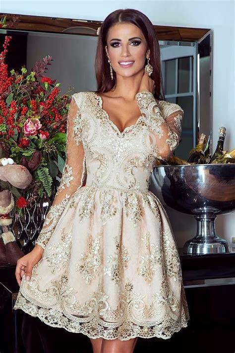 złota sukienka na wesele elegancka koronkowa rozkloszowana sukienka amelia lejdi pl