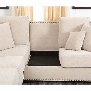 Gray sofa with nailhead trim b3367 sectionals abbyson for Grey sectional sofa with nailhead trim