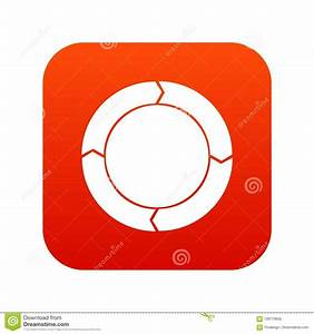 Diagram Pie Chart With Arrows Icon Digital Red Stock