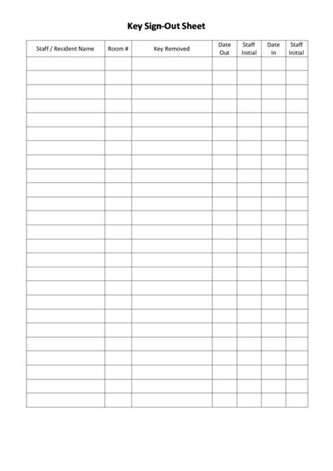 key sign  sheet template printable