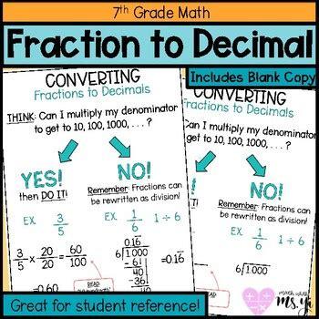 converting fractions  decimals anchor chart  math