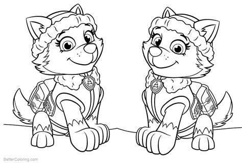 PAW Patrol Coloring Pages Everest Free Printable