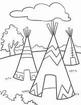 Teepee Drawing Coloring Tipi Getdrawings sketch template