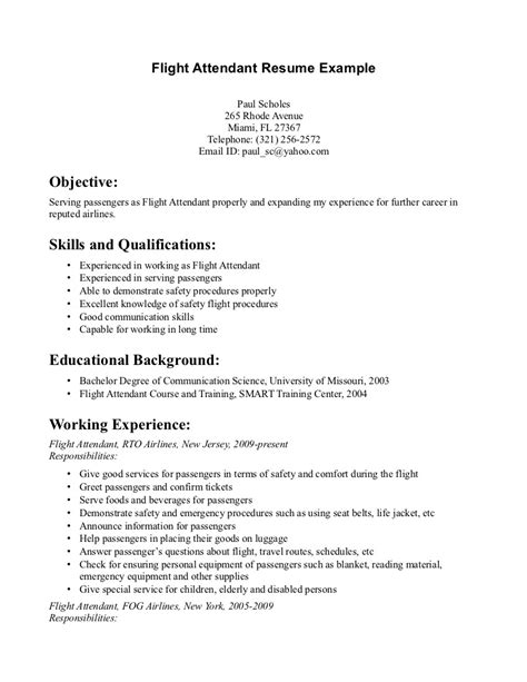 Flight Attendant Description For Resume by Flight Attendant Resume Skills Writing Resume Sle Writing Resume Sle
