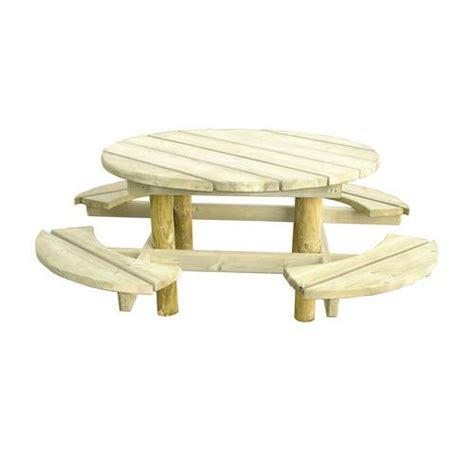 table de pique nique ronde pin manutan fr