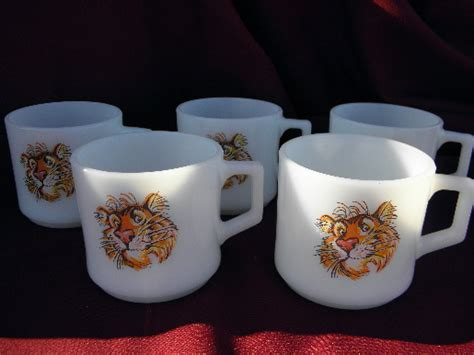 vintage fire king tigers coffee cups  esso tiger