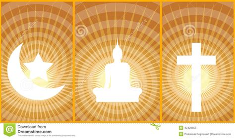 great religions buddhism christianity islam stock
