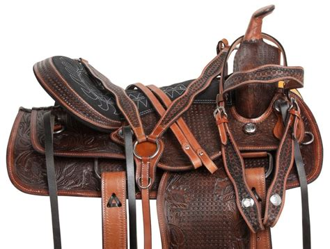 15 16 17 18 Western Hand Tooled Brown Cowboy Trail Horse