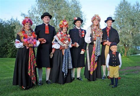 Swedish Traditional Wedding Party With Bride And Groom