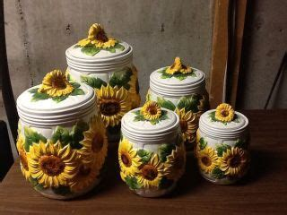 Sunflower Canister Sets Kitchen by New Sunflower Canister Set Glass Kitchen Canisters