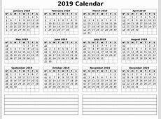 1 Year Calendar 2019 Template Task Management Template
