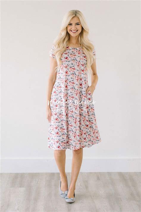peach gray floral pocket modest summer dress cute modest