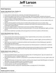 resume sles for rns in term care registered resume resumesles net