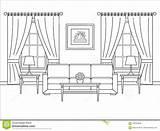 Illustr Coloring Fenster Rauminnenraum Flachen Entwurfsvektor Profilo Progettazione Stanza Finestra Piana Vettore Interno Nella Della Curtains Window Outline Template Interior sketch template