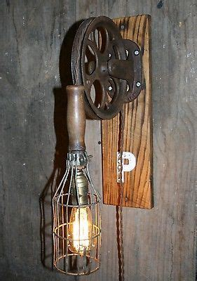 vtg industrial steunk quot p quot wall l pulley work