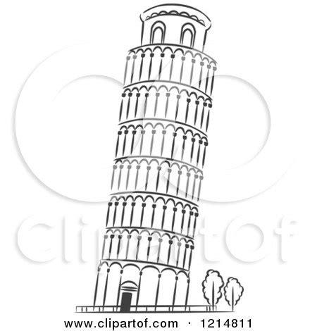 cartoon   leaning tower  pisa royalty  vector