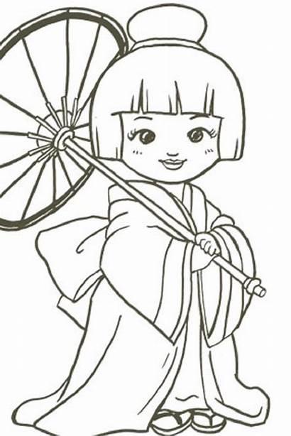 Coloring Japanese Pages Japan Drawing Kokeshi Colouring