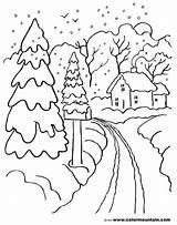 Winter Season Coloring Nature Printable Drawing Kb sketch template