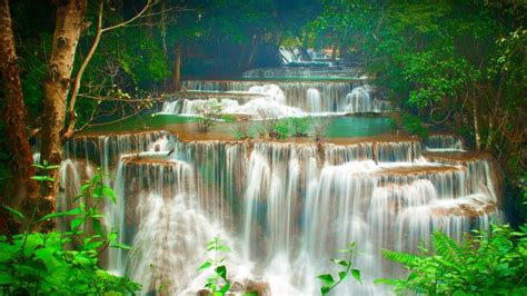 Tropics Cascade Waterfalls Green Trees Huay Maekamin
