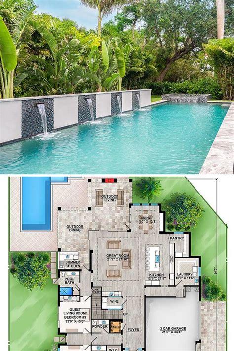 story  bedroom upscale contemporary home  multiple upper balconies floor plan pool