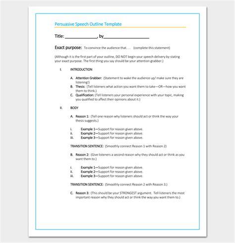 persuasive speech outline template persuasive speech outline template 15 exles sles formats