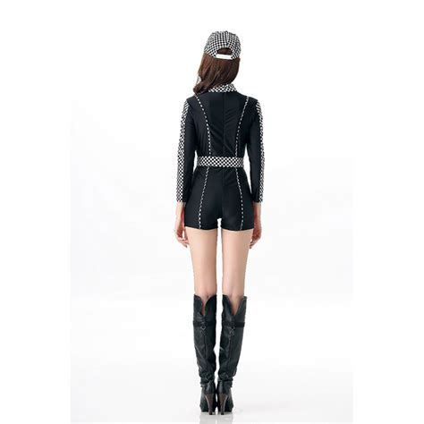 Sexy Checker Print Racer Girl Costume Jumpsuit N11679