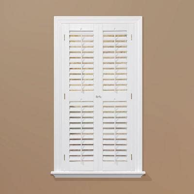 Interior Plantation Shutters Home Depot Homebasics Plantation Faux Wood White Interior Shutter Price Varies By Size Qspa3572 The