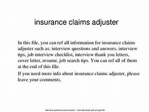 Insurance claims adjuster for Cover letter for claims adjuster position