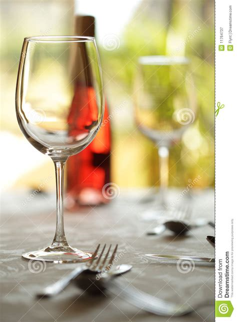 wine glass placement on table wine glass and place setting in a restaurant stock image