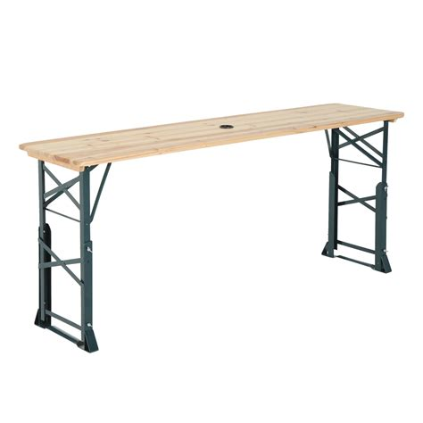 picnic table with umbrella hole outsunny 6ft folding height adjustable picnic table w