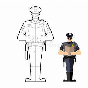 Policeman Coloring Book. Police Officer At Work Stock ...