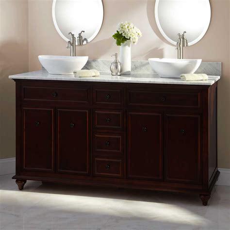 double vessel sink vanity 60 quot weiss walnut double vessel sink vanity