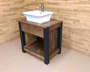 stunning salle de bain rustique industriel contemporary With meuble de salle de bain bois brut