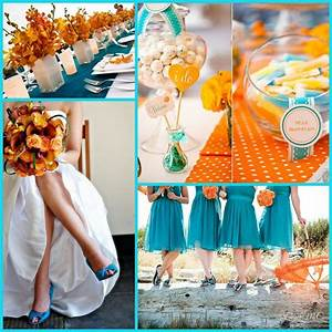 orange and teal coral and tiffany blue green reception ...