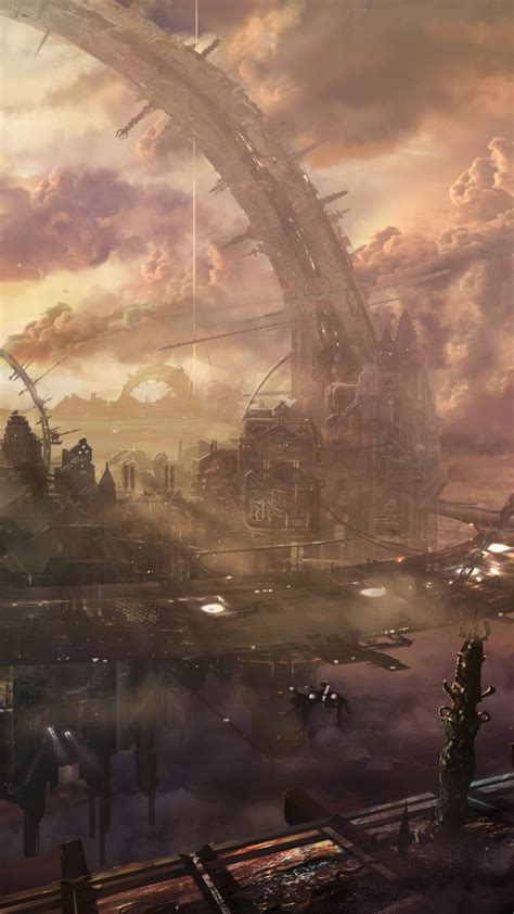 wallpaper heaven city arch building space station