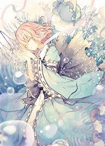 Anime girl dress water bubble short hair beautiful ...