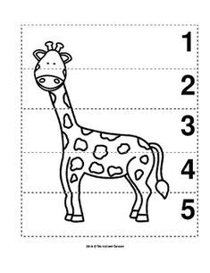 number sequence   preschool bw picture puzzle fox